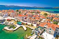 Colorful Island of Krapanj aerial panoramic view, sea sponge harvesting village