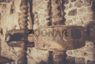 Old traditional wooden mill parts