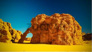 Abstract Rock formation at Tikoubaouine aka elephant in Tassili nAjjer national park, Algeria