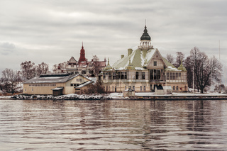 Club house of a boat club outside Helsinki Finland on a winter day