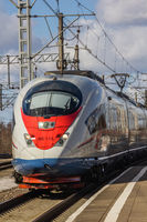 Russian high-speed train. Sapsan train. . Russia Metallostroy March 8, 2019