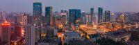Chengdu skyline aerial view panorama at night