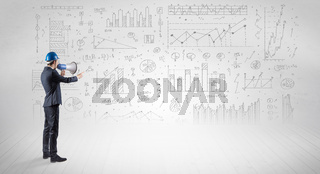 Engineer holding a plan and standing with graphs, charts and reports on the background