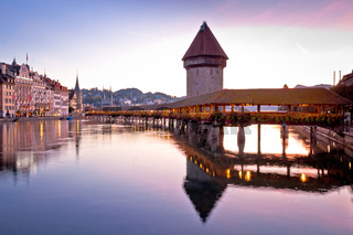 Kapelbrucke in Lucerne famous Swiss landmark dawn view