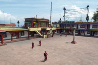 SIKKIM, INDIA, May 2014, Young monks running at Rumtek Monastery