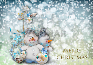 Christmas greeting card with the image of a snowman.
