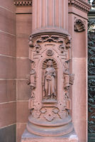 sandstone sculpture on the outer facade of the rathaus roemer frankfurt am main germany