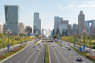 Car traffic on TianFu avenue in Chengdu
