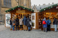 Christmas market at st. Vitus cathedral Square in Prague
