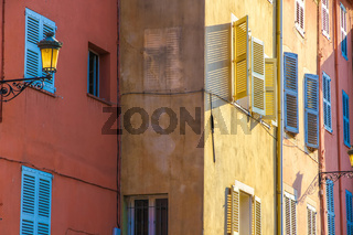 Historic architecture of Frejus on a sunny day