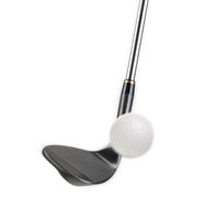 Black Golf Club Wedge Iron Hitting Golf Ball on White Background