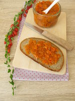 Goji berry jam on a bread slice for breakfast
