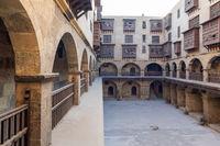 Courtyard of Caravanserai of Bazaraa, with arab oriel window, Cairo, Egypt