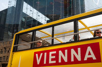 Vienna, Austria, Tourists on a sightseeing bus during a city tour