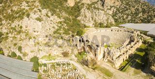 Drone View Rock-Cut Tomb Greek Theater Myra Turkey