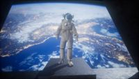 astronaut on the space observatory station near Earth