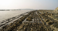 Panorama of rocky shore Ngapali beach in Myanmar