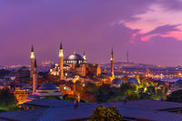 Hagia Sophia in the Istanbul skyline, beautiful evening view