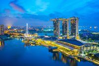 Night of Singapore city skyline with view of Marina Bay