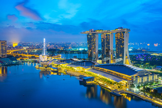 Night of Singapore city skyline with view of Marina Bay