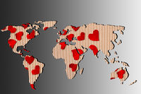 Roughly outlined world map withheart shapes fillings