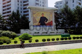 Pjoengjang, Nordkorea, Gemaelde von Kim Il-Sung