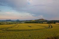 Landscape between the fields at the village Merunice, Czech Republic.