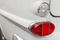 Left tail light white vintage car