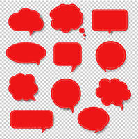 Red Speech Bubble Set Isolated Transparent Background