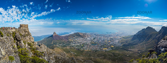 Panoramic view of Cape Town, Lion's Head and Signal Hill from the top of Table Mountain.