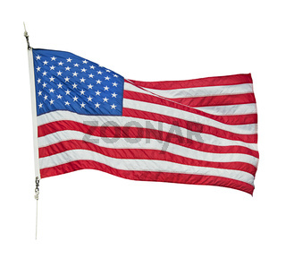 American flag waving  on white background