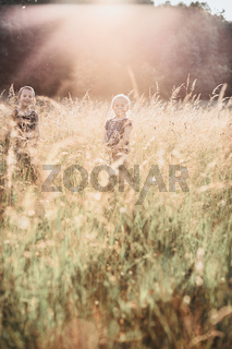 Little happy smiling kids playing in a tall grass