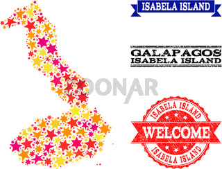 Star Mosaic Map of Galapagos - Isabela Island and Rubber Watermarks