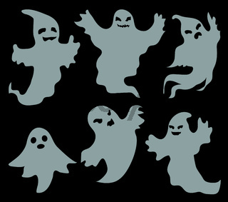 Ghosts scary set, flat style. Isolated on a black background. Halloween concept. Collection of dead spirits. Vector illustration.