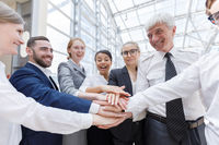 Business team stack hands