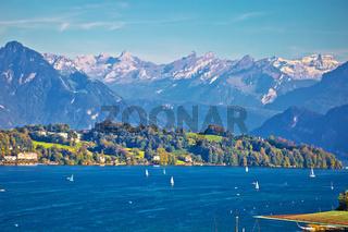 Lake Luzern sailing destination and Alpine peaks view