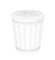 3D wire-frame model of trash can