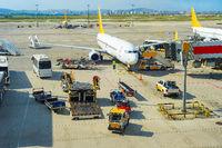 Planes at Istanbul airport runway