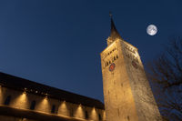 church Saint Martin in Sindelfingen Germany by night with moon
