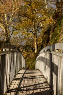 A man made metal bridge along a public footpath around the edge of Loch Loman