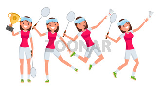 Badminton Young Woman Player Vector. Girl Athlete Player. Jumping, Practicing. Flat Cartoon Illustration