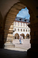 Tourists in the courtyard of the castle Friedenstein in Gotha in Thuringia