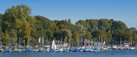 Marina at Lake Unterbacher See in Duesseldorf,North Rhine westphalia,Germany