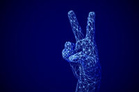 Artificial intelligence victory concept: digital 3D human or robot hand showing victory gesture.