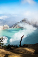 Aerial view of beautiful Ijen volcano with acid lake and sulfur gas going from crater