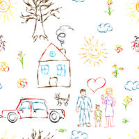 Cute colorful child hand drawn objects like family, flowers, house, grass, tree, sun and cat, seamless pattern on white