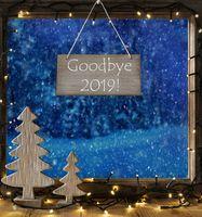 Window, Snowy Winter Forest, English Text Goodbye 2019