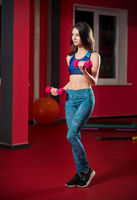 Young woman in fitness club