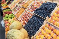 Ripe watermelons in farmer market