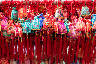 Red lucky gift bags hanging in China